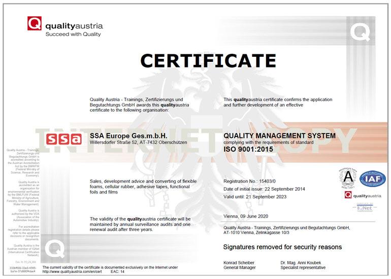 Certificate DIN ISO 9001:2015