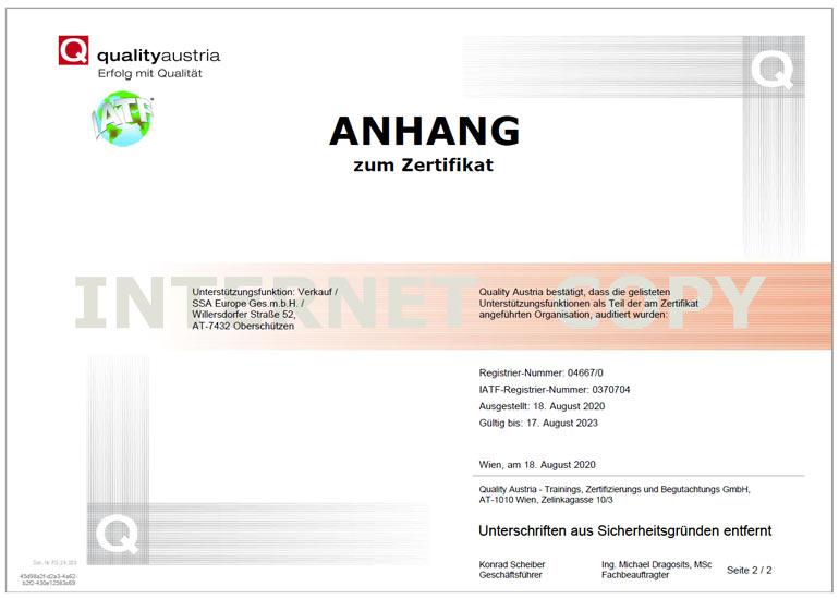 Zertifikat IATF 16949 deutsch