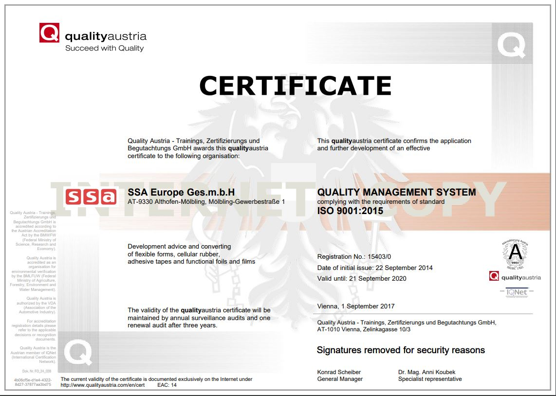 Certificate DIN ISO 9001:2015