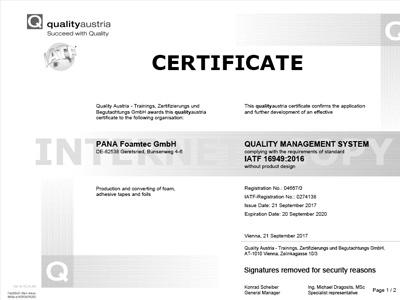 Certificate IATF 16949 english